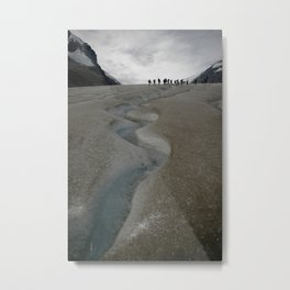 Glacial Stream and Hikers Metal Print
