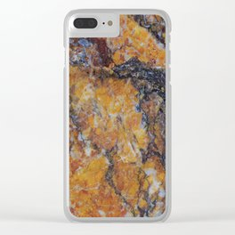 Grungy Brown Marble Stone Clear iPhone Case