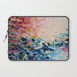 PARADISE DREAMING Colorful Pastel Abstract Art Painting Textural Pink Blue Tropical Brushstrokes Laptop Sleeve