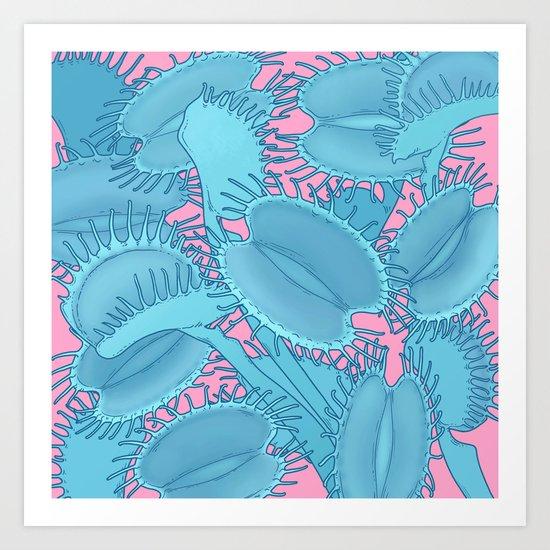 Free hugs (Venus Flytrap on pink) Art Print