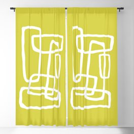 Abstract Interlocking Shapes No. 1 in Acid Green and White Blackout Curtain