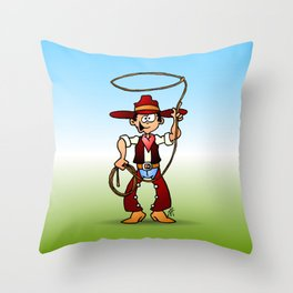 Cowboy with a lasso Throw Pillow