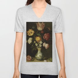 Ambrosius Bosschaert - Still life with flowers in a Wan-Li vase (1619) Unisex V-Neck