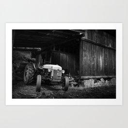 Tractor in barn Art Print