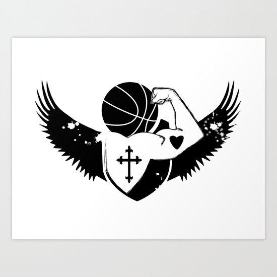 Faith Strength Heart Basketball Art Print