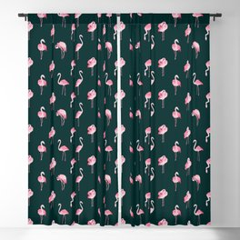 Pink Flamingo Pattern, Cute Animals Blackout Curtain