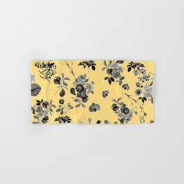 Black and White Floral on Yellow Hand & Bath Towel