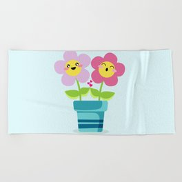 Kawaii Spring lovers Beach Towel