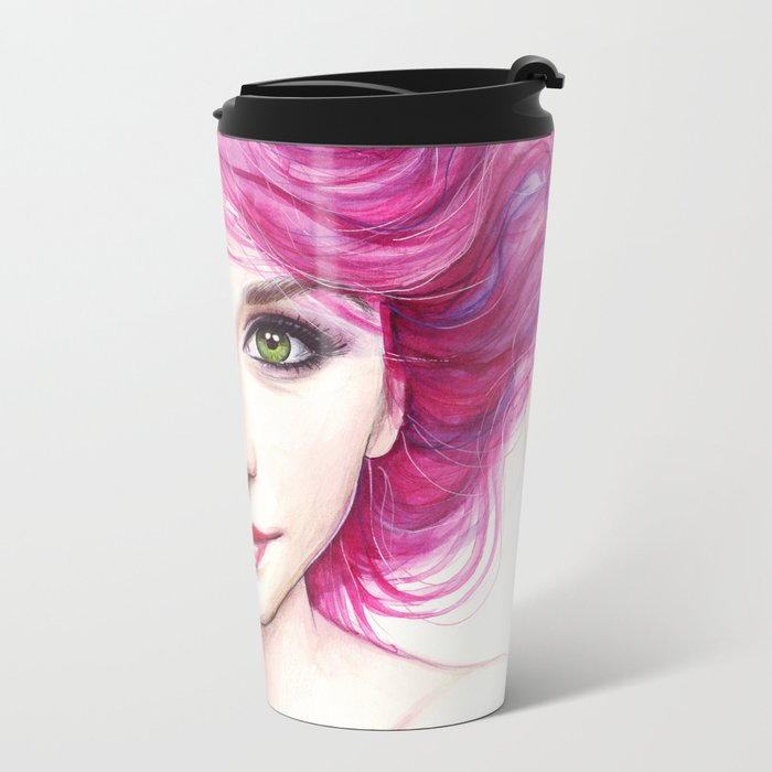 Pink Hair Green Eyes Beautiful Girl Metal Travel Mug