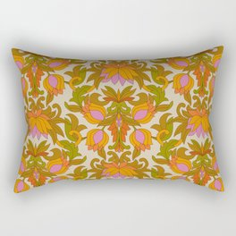 Orange, Pink Flowers and Green Leaves 1960s Retro Vintage Pattern Rectangular Pillow