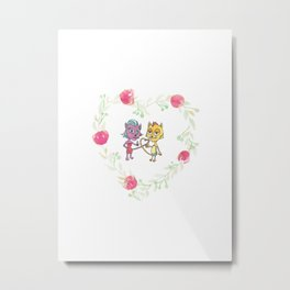 Cool Cats in Wreath-Pink Flowers Metal Print