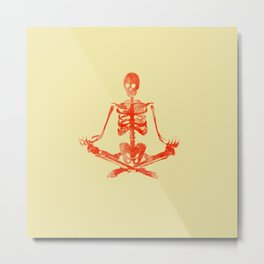 Skeleton Sukhasana Metal Print