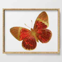 Gold Glitter Scarlet Red Butterfly Design Serving Tray