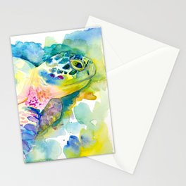 Sea Turtle Watercolor Illustration by Julie Lehite, Julesofthesea Stationery Cards