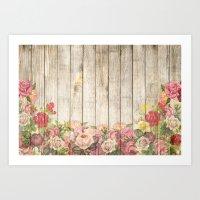 Wood Roses Art Print