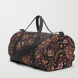 Botanical Seedpod Floral Watercolor Purple , Lilac Brown Flowers Duffle Bag