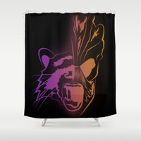 guardians of the galaxy Shower Curtains featuring GUARDIANS OF THE GALAXY by Jorge Daszkal