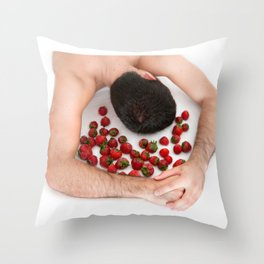 Strawberries Angel (Nude Food) Throw Pillow
