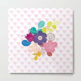 Little Hearts and flowers Metal Print