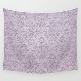 Vintage chic violet lilac floral damask pattern Wall Tapestry