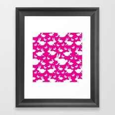 Bunny Pattern Pink and White Framed Art Print