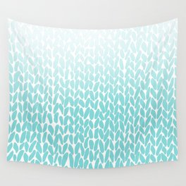 Hand Knitted Ombre Teal Wall Tapestry