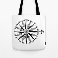 compass Tote Bags featuring Compass by Addison Karl