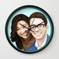 jenna kutcher Wall Clocks featuring Jenna Ushkowitz and Kevin Mchale by weepingwillow