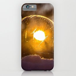 abstract art ball blur bright clear close-up cold dark flame glisten gold ice landscape light luminescence moon reflection round shining snow soap bubble sparkle sphere sun sunbeam sunset transparent winter iPhone Case