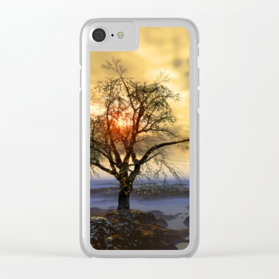 Tree in November sun Clear iPhone Case