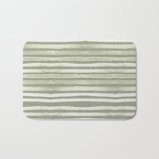 Simply Shibori Stripes Green Tea and Lunar Gray Bath Mat