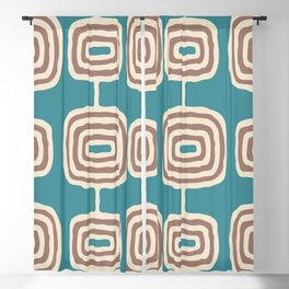 Mid Century Modern Atomic Rings Pattern 247 Turquoise and Beige Blackout Curtain