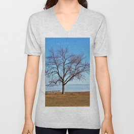 The Tree by the Frozen Lake Unisex V-Neck