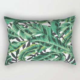 Tropical Glam Banana Leaf Print Rectangular Pillow
