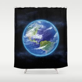 Planet Earth in Space Shower Curtain