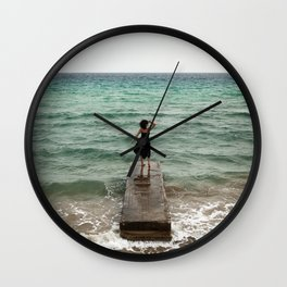 The Woman And The Sea Wall Clock