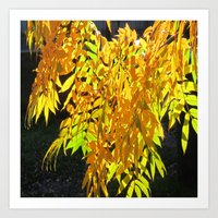 Abstract Golden Foliage Art Print