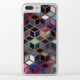 Pastel Boxes Rose Gold Clear iPhone Case