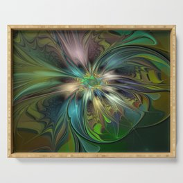 Colorful Abstract Fractal Art Serving Tray