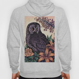 Great Grey Owl At Sunset Hoody