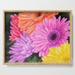 COLORFUL GERBER DAISIES in WATERCOLORS Serving Tray