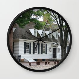 White Clapboard House - Colonial Williamsburg Wall Clock
