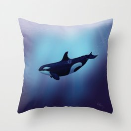 """""""Lost in Fantasy"""" by Amber Marine ~ Orca / Killer Whale Art, (Copyright 2015) Throw Pillow"""