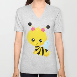 Cute Little Bee, Bee With Flowers - Yellow Black Unisex V-Neck