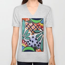 Colorful Talavera, Green Accent, Mexican Tile Design Unisex V-Neck