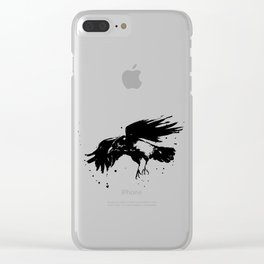 Raven Watercolor Clear iPhone Case