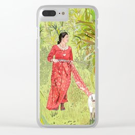Lady with saree tied to Goat Clear iPhone Case