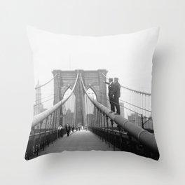 1920's Brooklyn Bridge, Brooklyn, New York black and white art photography - photographs Throw Pillow
