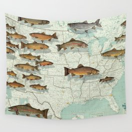 United States Trout Map (1999) Wall Tapestry