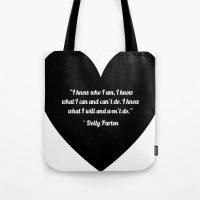 dolly parton Tote Bags featuring Dolly Parton slogan in Black by Geraldine Mattis